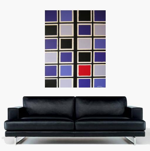 Ein Kunstbild von Pete Schroeder auf dem viele Quadrate nebeneinander geordnet sind. Mit den Farben lila, rot, schwarz, Helles lila und dunkles lila und war es. Aus dem Jahre 2006